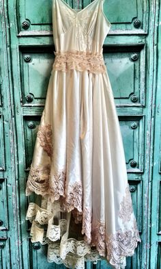 ivory & blush lace satin appliqued by mermaidmisskristin on Etsy