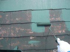 岩槻区で外壁に合わせたグリーンの屋根塗装③