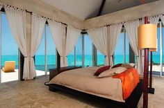 Villa Balinese (IE BAL) in Turtle Tail, Turks & Caicos from WIMCO Villas. Ultimate luxury living, enjoys cooling trade winds, located on an elevated ridge overlooking the sea. Turks And Caicos Villas, Balinese Villa, Balinese Decor, Bungalow, Dream Bedroom, Bedroom Beach, Master Bedroom, Dream Rooms, Interior Exterior