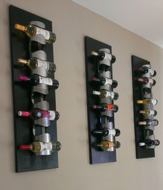 Modern Accent Wall Decor- Expresso Stained Stainless Steel Wall Wine Rack. An Exquisite Display for Any Home! Custom Made to Order.