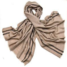 Etole laine fine beige tissée avec rayures - Etole/Etole laine - Mes Echarpes