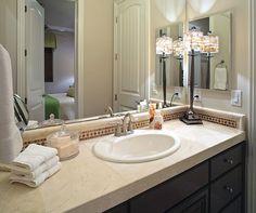 Bathroom Vanity Countertop and Accessories--lamp in bathroom!