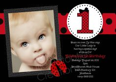 love the bow on the 1 - -Ladybug Birthday Invitation Ladybug by CutiesTieDyeBoutique