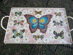 Vintage Butterfly Mosaic Tile Tray