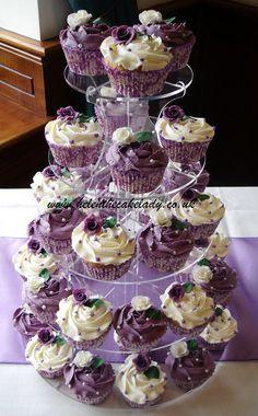cream and purple cupcakes