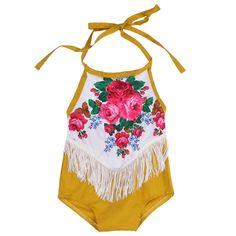 225066055e2 Mustard Yellow Flower Fringe Romper. Baby Girl ...