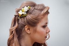 Barrette clip polymer clay flower  jasmine    by JewelryFloren
