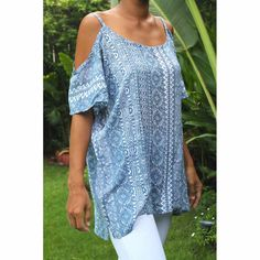 Top Mada - Woman Summer printed rayon - Tiki Blue Top by CintaTomato on Etsy