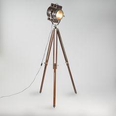 Lámpara de pie TRIPOD Camera cuero marrón y madera