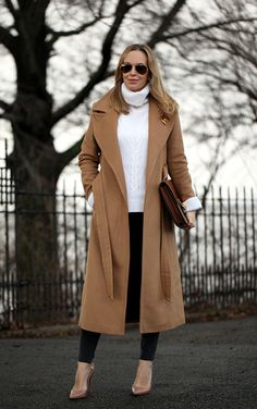 wool coat with chunky sweater and skinny jeans