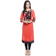 Straight Orange Georgette Floral Print Casual Kurti For Women By Aik Collections Kurtas and Kurtis For Women on Shimply.com