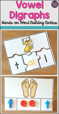 These hands-on activities provide students with fun ways to practice vowel digraphs, vowel teams, and diphthongs.  I've used these puzzles, word building mats, and cut and pastes in my small groups and as word work centers for my 2nd graders.