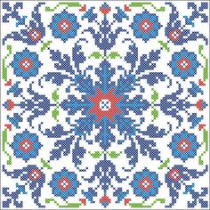 turkish pattern cross stitch b Cross Stitch Pillow, Cross Stitch Charts, Cross Stitch Designs, Cross Stitch Patterns, Cross Stitching, Cross Stitch Embroidery, Embroidery Patterns, Turkish Pattern, Palestinian Embroidery