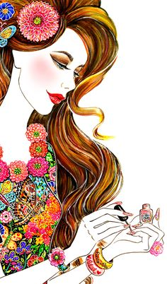 Prettypots Polish Fashion illustration ~ by Sunny Gu