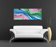 Fluid - 100x40 cm, Dipinto astratto originale, olio su tela, arte contemporanea