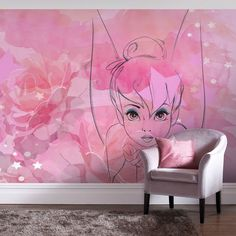 Tink wallpaper mural tinkerbell mural tinkerbell bedroom wall decorations – My Company Bedroom Murals, Bedroom Themes, Bedroom Decor, Bedroom Wall, Fairy Bedroom, Kids Bedroom, Tinker Bell Room, Tinkerbell Wallpaper, Deco Disney