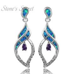 2016 New Arrival Precious Blue Opal Earrings For Women Hot Sale Fashion Jewelry Elegant Ol Style Drop Earrings Brincos ER221