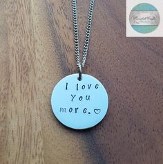 Personalized Jewellery, Personalized Necklace, Family Necklace, Hand Stamped Silver Disk Pendant - I love you more, Personalised pendant Family Necklace, Name Necklace, Dog Tag Necklace, Love Stamps, Hand Stamped Jewelry, Felt Hearts, Gifts For Mum, Personalized Necklace, Christmas 2016