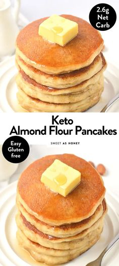 Almond flour pancakes Healthy gluten free recipe Sweetashoney - Keto for beginners Almond Flour Pancakes, Low Carb Pancakes, Gluten Free Pancakes, Almond Flour Recipes, Pancakes Easy, Fluffy Pancakes, Pancake Recipe Using Almond Flour, Gluten Free Pancake Recipe Easy, Desserts With Almond Flour