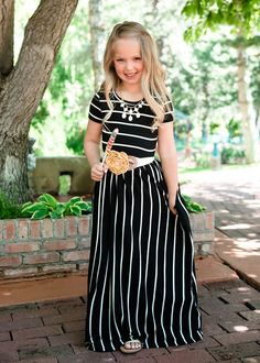 faf64bd3ea5f Girls Babydoll Striped Pocket Maxi Dress Black · Mommy And Me ...