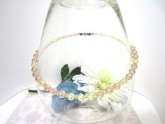 Vintage Light Peach and Pale Yellow Swarovski Disco Crystals Necklace