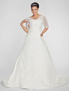 Lan Ting A-line Petite / Plus Sizes Wedding Dress - Ivory Chapel Train V-neck Taffeta - USD $179.99