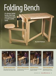 Folding Wood Carving Bench Plans - Wood Carving Patterns and Techniques - Woodwork, Woodworking, Woodworking Plans, Woodworking Projects Folding Workbench, Workbench Plans, Woodworking Workbench, Woodworking Crafts, Woodworking Shop, Woodworking Magazine, Garage Workbench, Woodworking Classes, Woodworking Basics