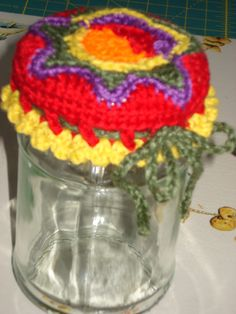 Jampot cover - freeform crochet