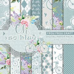Bicycle Flowers Digital Paper Pack Instant Download Bike Roses Shabby Chic Vintage Rustic Birds Blue Tale Pink Mint Damask Dots 6x6 inches