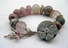 Softly - handmade bracelet, art bead bracelet, flower bracelet, soft colour bracelet