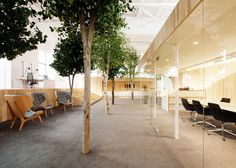 KAMP Arhitektid creates tree-filled office within former factory.  Lenne Office by KAMP Arhitektid (Tallinn). Previously the empty hall of a disused Soviet-era factory building in Tallinn. The realistic-looking trees peppered around the space are made from a combination of real trunks and artificial branches and leaves.