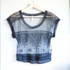 Free People sheer lace top PRICE FIRM. Gorgeous lace free people top BN, never worn Free People Tops Tees - Short Sleeve