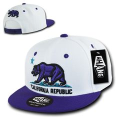 California Flag Bear Hats, California Republic Snap Back, One Size Fits All