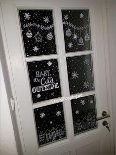 Christmas window frames with chalk pencil (woman shopping), All Things Christmas, Christmas Time, Christmas Crafts, Christmas Pictures, Window Art, Window Frames, Window Ideas, Chalk Pencil, Diy Crafts To Do