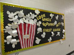 The best back to school bulletin board ideas to dress up the school this year. These back to school bulletin board ideas will get kids excited. Back To School Bulletin Boards, Preschool Bulletin Boards, Classroom Bulletin Boards, Classroom Door, Classroom Displays, Classroom Themes, Popcorn Bulletin Boards, Bullentin Boards, Library Displays