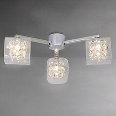 Buy John Lewis Vincenzo Square Crystal Cube Semi-Flush Ceiling Light, 3 Arm Online at johnlewis.com