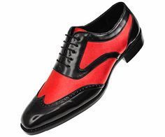 Bolano Mens Classic Two Tone Red Metallic and Black Smooth Wingtip Oxford Tuxedo Dress Shoe : Style Lawson-005 $59.99