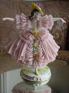 Antique MZ Germany German Dresden Lace Dancing Lady Figurine | eBay