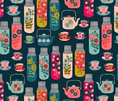 Tea Thermos - Vintage Florals by Andrea Lauren fabric by andrea_lauren on Spoonflower - custom fabric