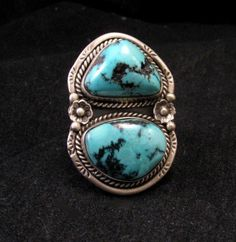 Big Navajo Indian Mountain Turquoise Ring sz7-9 adjustable