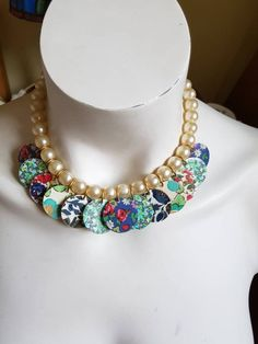 72b25f1b2 Liberty Fabric Buttons Necklace, Recycled Jewellery, Liberty Covered Buttons  Necklace, Floral Necklace, Reversible Necklace, Pearls Necklace