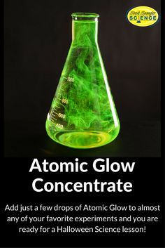 Under normal light, the Atomic Glow coloring turns the water a cool   greenish-yellow color. But Atomic Glow gets its name from the color that   appears when you flip on the black light. When Atomic Glow coloring is   exposed to black light, the material actually glows an eerie green color   that looks… well… atomic, as the kids say.