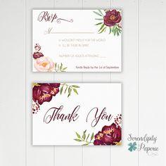 Romantic Floral Maroon Wedding Invitation por SerendipityPaperieCo