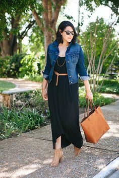 Belted black maxi dress with tan accessories (including fabulous Madewell tote). Belted black maxi dress with tan accessories (including fabulous Madewell tote). Summer Outfits Women 30s, Casual Fall Outfits, Spring Outfits, Casual Dresses, Summer Work Outfits Plus Size, Formal Outfits, Winter Outfits, Mode Hippie, Mode Boho