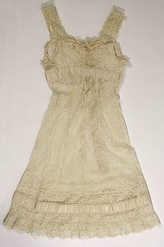 Cotton lace wedding lingerie (drawers and slip) with ribbon trim, American or European, 1917.