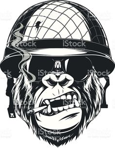 Monkey soldier with a cigarette stock vecteur libres de droits libre de droits