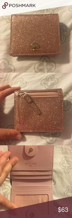 Kate Spade Rose Gold Glitterbug Small Wallet reposh // Kate Spade Rose Gold Glitterbug Small Wallet. Excellent condition. Tag is still inside of wallet. Looks brand new! No damage. Bought from a fellow posher and ended up not being able to use it. My loss is your gain. Priced to get my money back, but feel free to make me offers!! kate spade Bags Wallets
