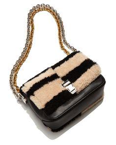 Proenza Schouler | Black Courier-Blurred Leather and Fur Shoulder Bag | Lyst