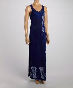 Another great find on #zulily! Blue Crochet Neck Maxi Dress by India Batik #zulilyfinds