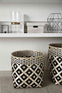 Design Vintage | Bamboo Baskets | Black and White Basket | Hubsch